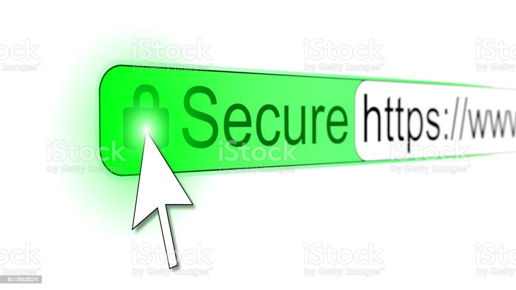 Mousepointer Clicking Padlock On A Secure Https Website Stock Photo