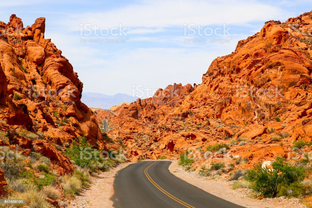 Mouses Tank Road in the Valley of Fire stock photo