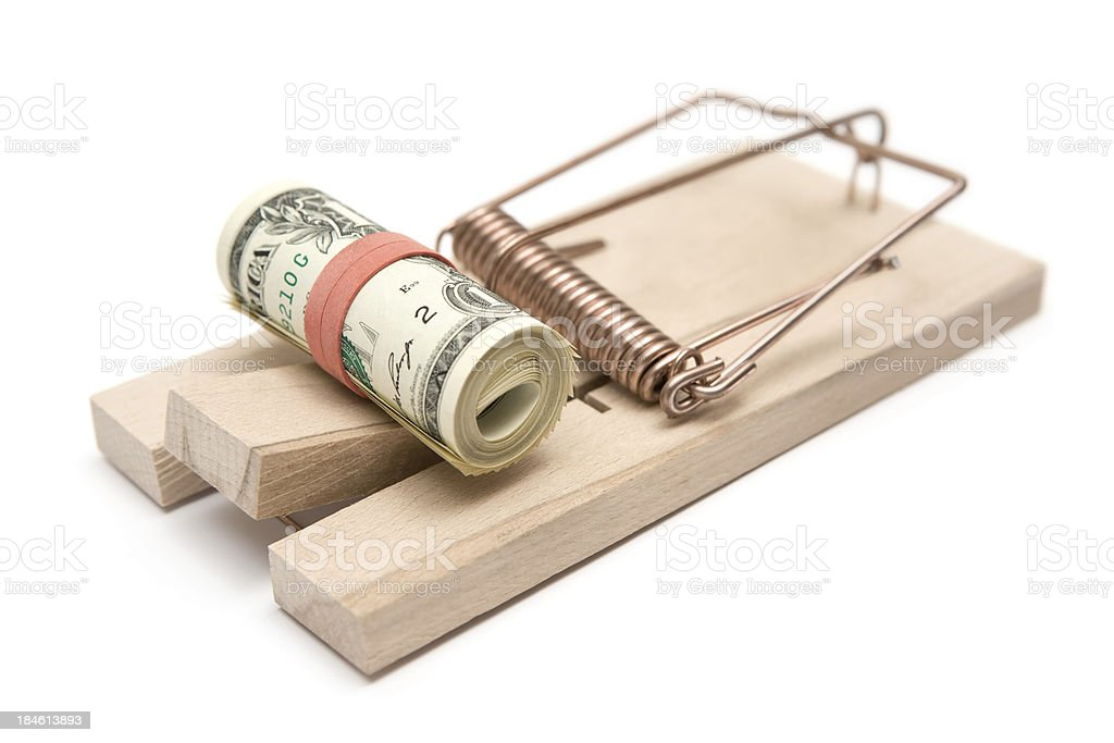 Mousetrap and Money Roll royalty-free stock photo