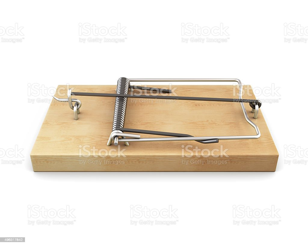 Mousetrap isolated on white background. 3d. stock photo