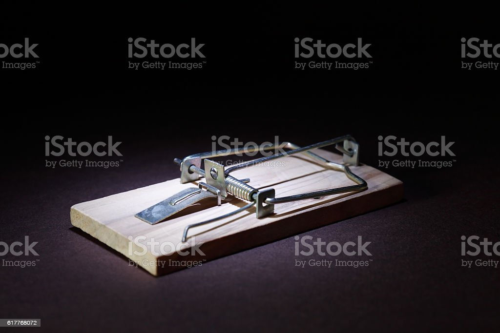 Mousetrap On Dark stock photo
