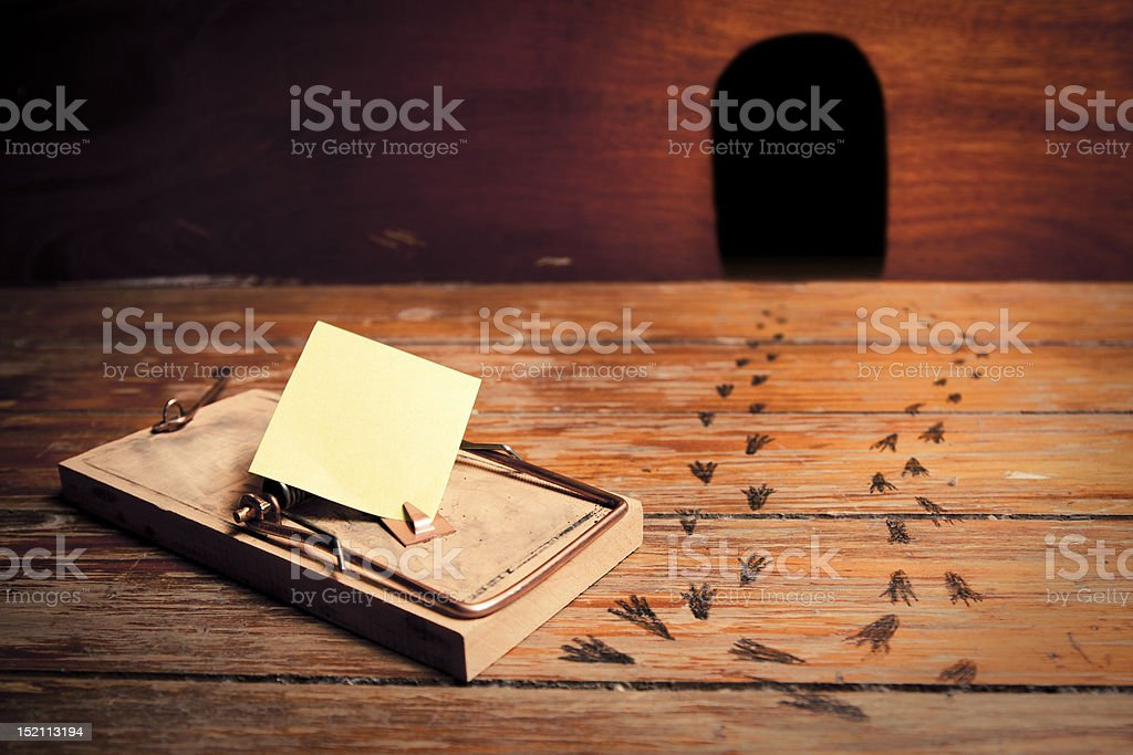 mousetrap sign stock photo