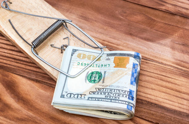Mousetrap with dollar bills on the table. Top view. Business concept. Mousetrap with dollar bills on the table. Top view. Business concept. trap stock pictures, royalty-free photos & images