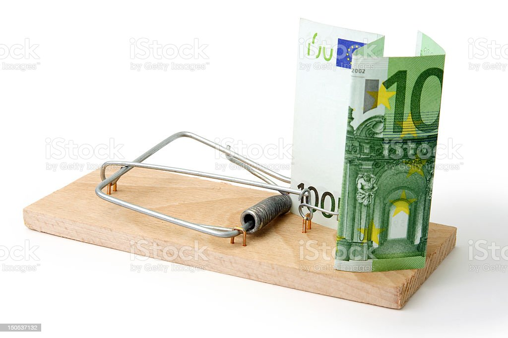 Mousetrap with euro royalty-free stock photo