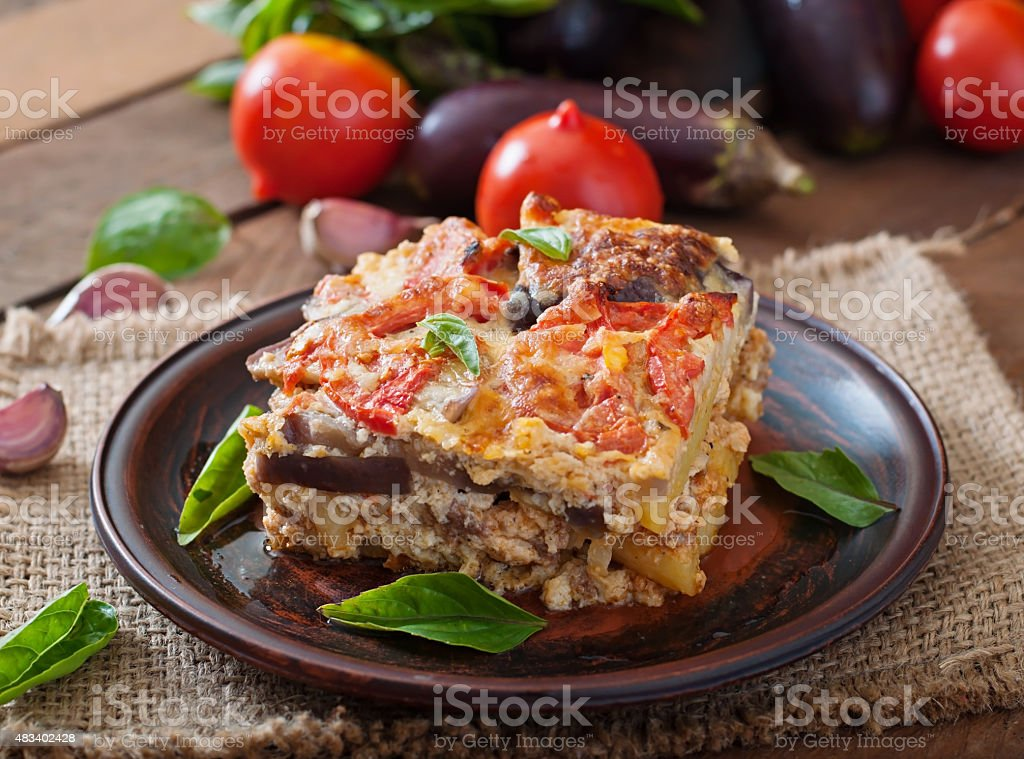 Moussaka - a traditional Greek dish stock photo