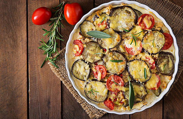 moussaka (eggplant casserole) - a traditional greek dish - casserole stock photos and pictures