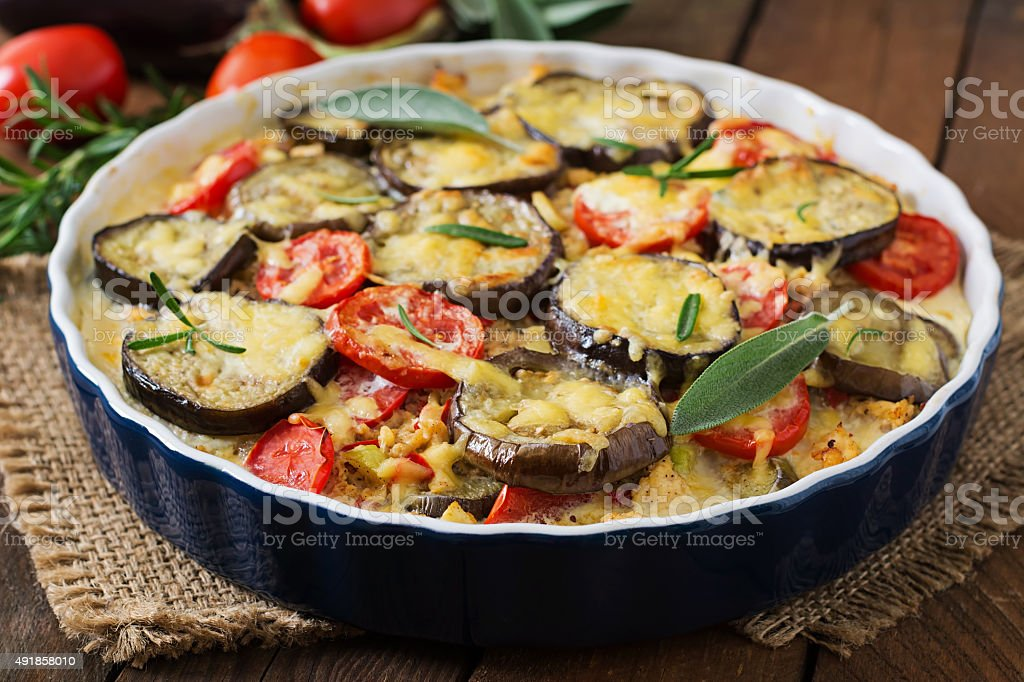 Moussaka (eggplant casserole) - a traditional Greek dish stock photo