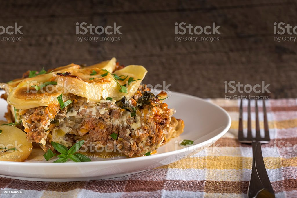 Moussaka on plate stock photo