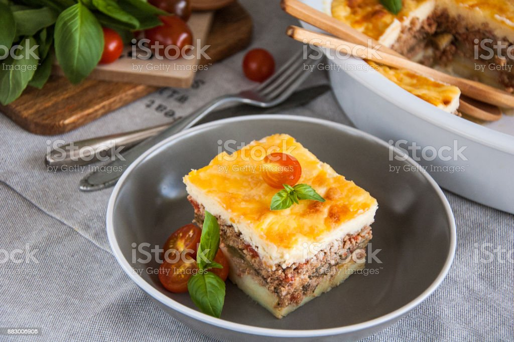 Moussaka. Traditional Greek eggplant casserole stock photo