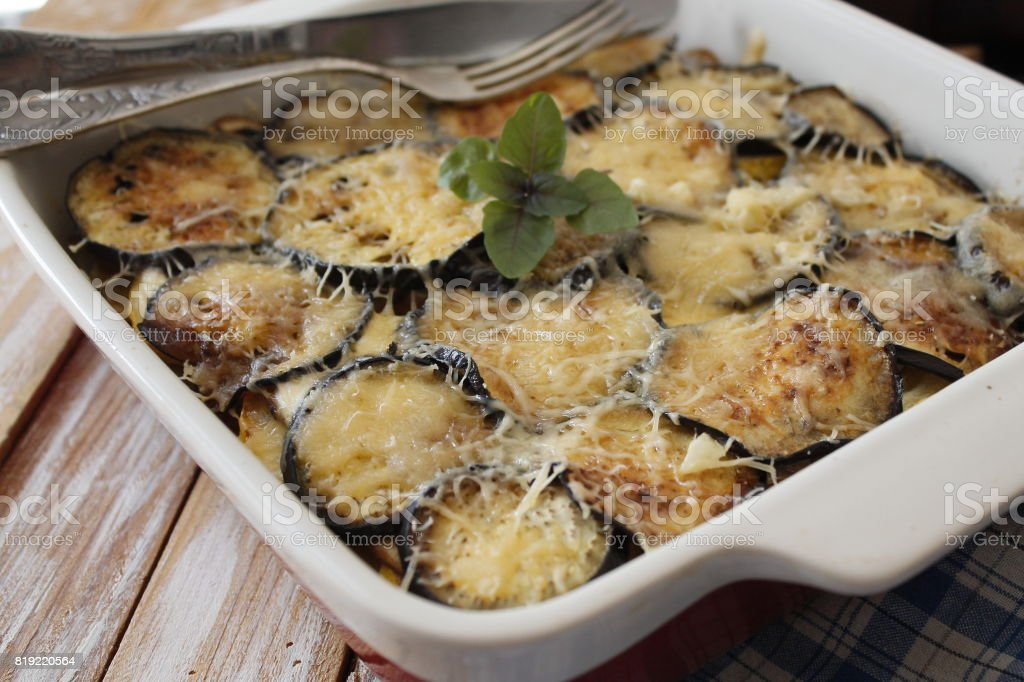 Moussaka with aubergine,сasserole with meat, eggplant and cheese stock photo