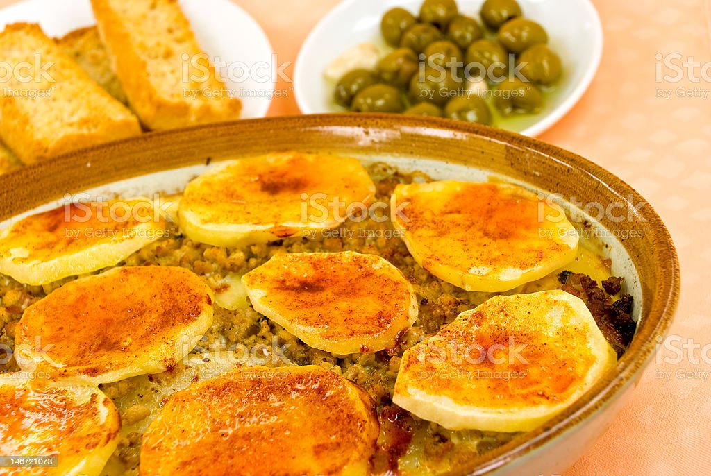 Moussaka with cheese,eggplant and baked potatoes royalty-free stock photo