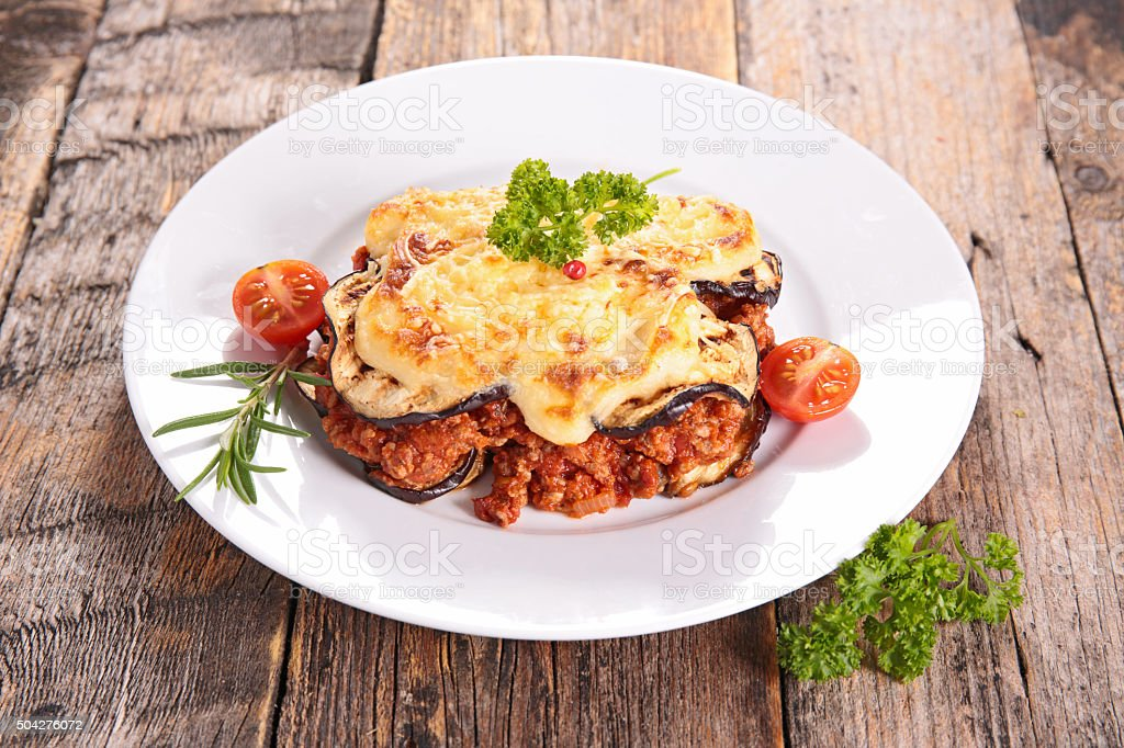 moussaka witheggplant, beef and tomato sauce stock photo