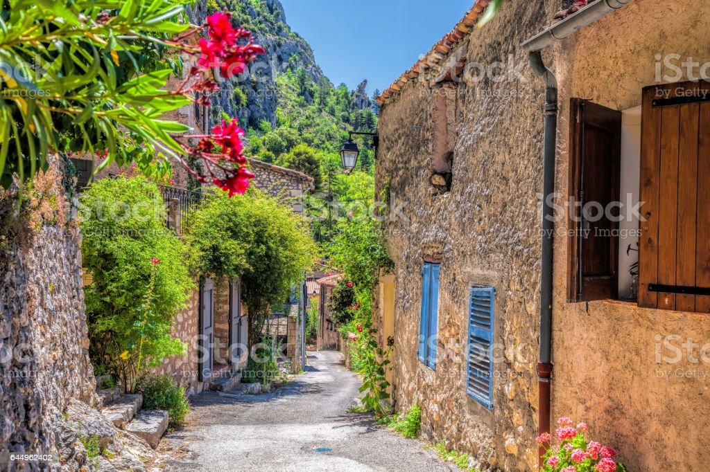 Moustiers Sainte Marie village with street in Provence, France - Photo