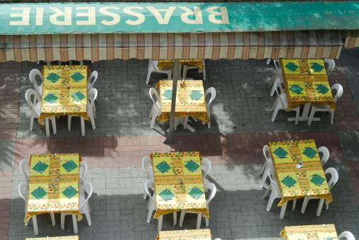 Moustiers-Ste-Marie, external tables of a brasserie (French restaurant)