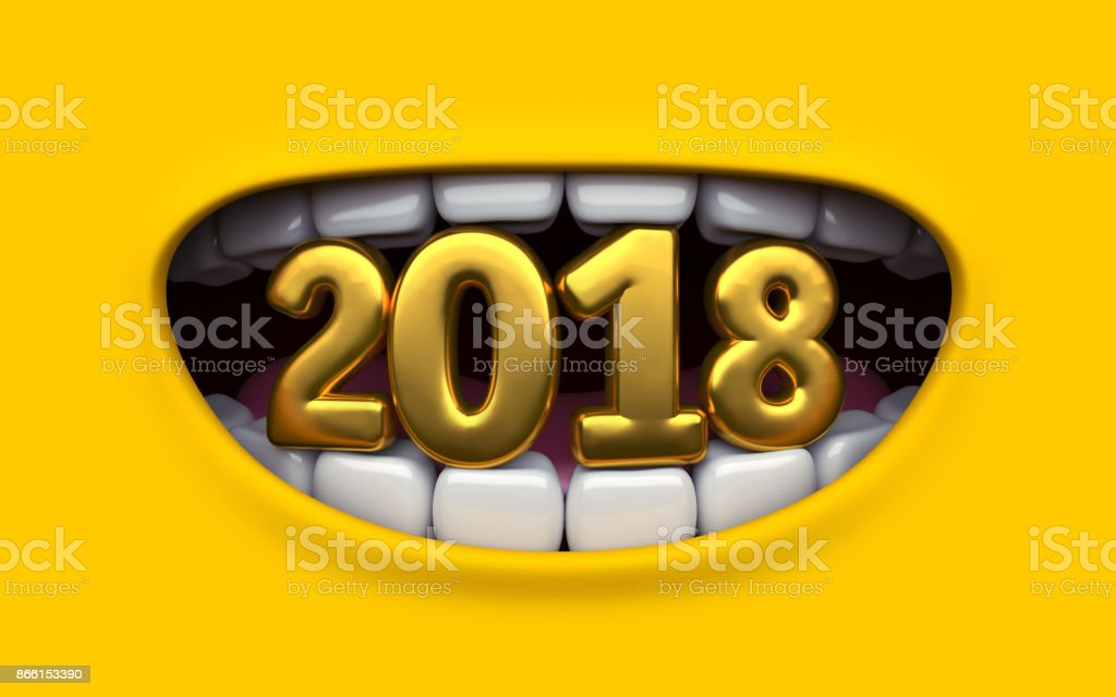 Mouth of character on a yellow background. Mimicry face of a cartoon little man. Children's poster with Christmas and Happy New Year. Poster 3d render. stock photo