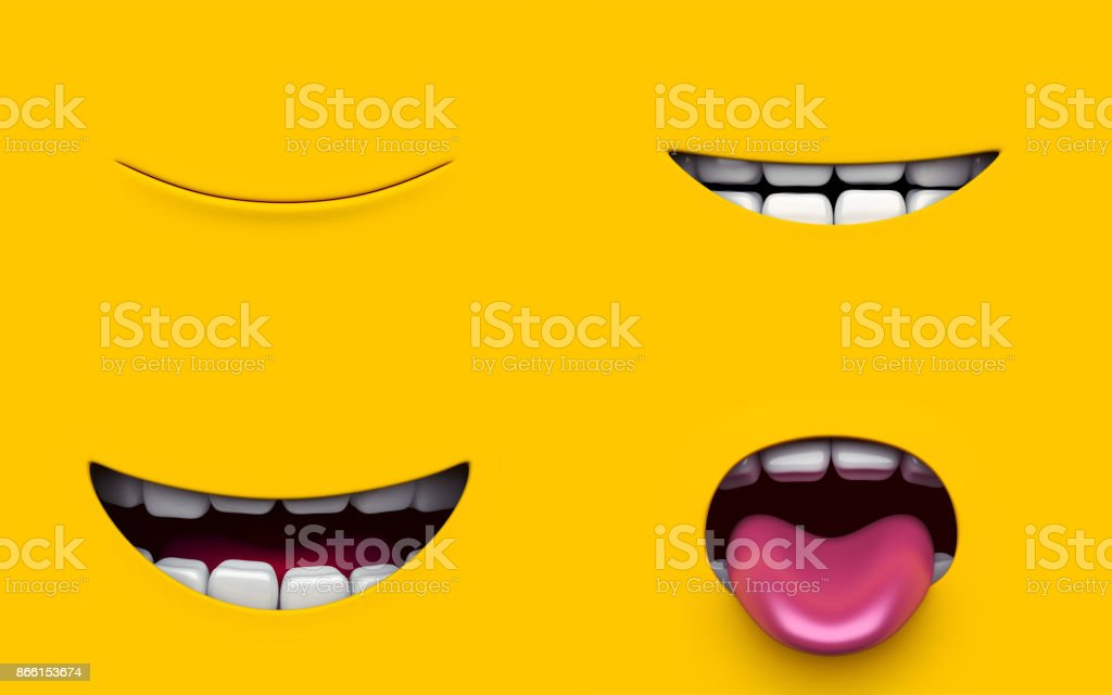 Mouth of character on a yellow background. Mimicry face of a cartoon little man. 3d render. stock photo