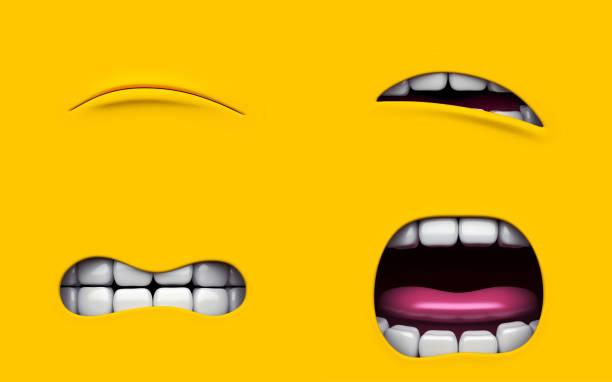 mund des charakters auf einem gelben hintergrund. mimikry gesicht eines zeichentrickfilms männlein. 3d render. - minion thema stock-fotos und bilder