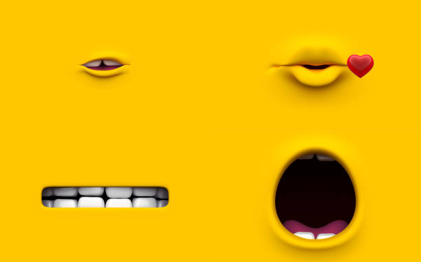 mouth of character on a yellow background. mimicry face of a cartoon little man. 3d render. - emoticons stock photos and pictures