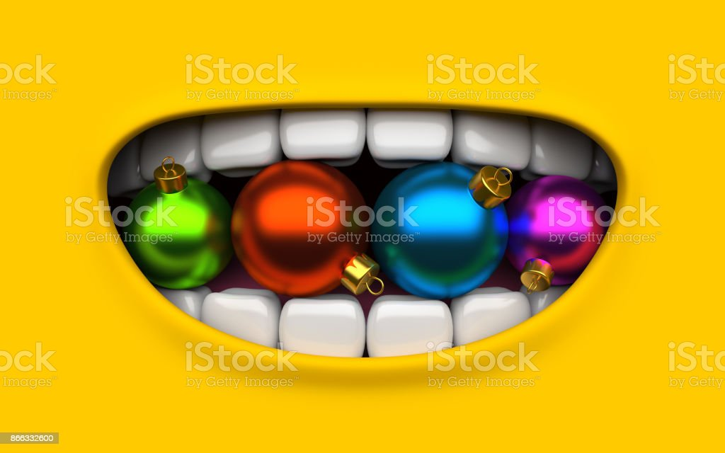 Mouth of character on a yellow background. Mimicry face of a cartoon little man. Children's poster with Christmas and Happy New Year 2018. Poster 3d render. stock photo