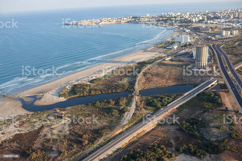 Mouth of Nahal Na'aman river. - foto de acervo