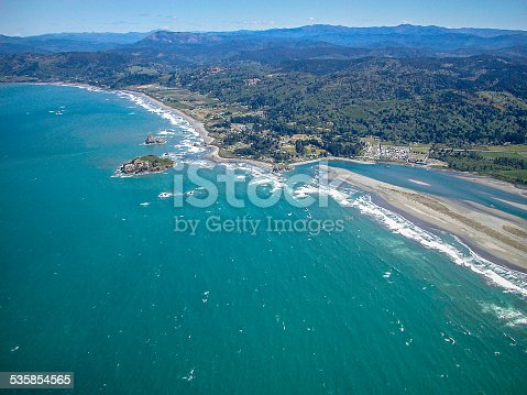 Mouth of Smith River aerial photo, northern California Pacific coast.