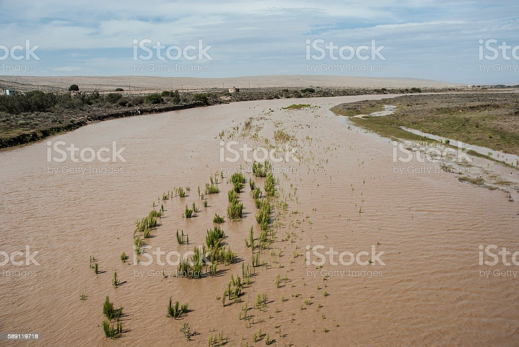 Mouth of the Orange River, Namibia, South Africa stock photo