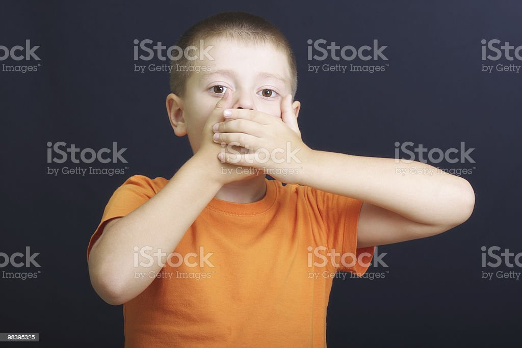 Mouth shut with hands royalty-free stock photo