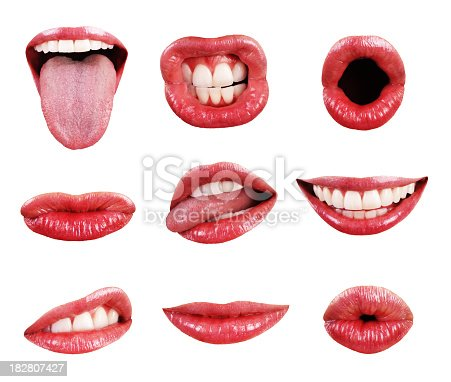 A collection of glossy, red-lipped, precision-isolated female mouths, shot in high resolution and set against a pure white background. Mouths depict varous expressions, and have perfect, white, straight teeth.
