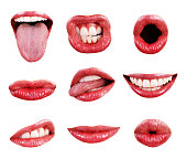 Mouth, Teeth, Lips, and Tongue Page Elements Isolated Collection Assortment