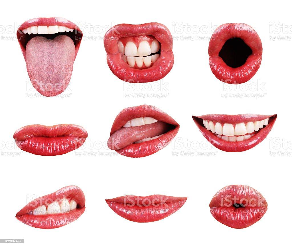 Mund Lippen Zähne und Zunge Seite Elemente isoliert Collection Angebot – Foto