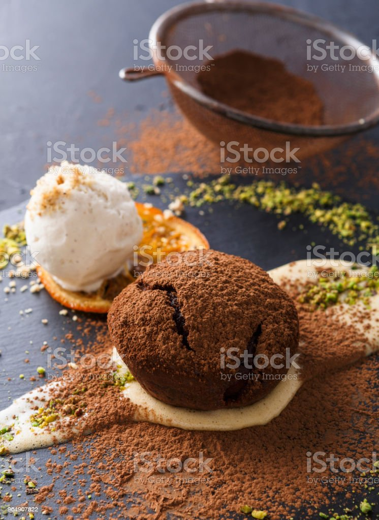 Mouth watering delicious chocolate fondant cake, restaurant serving royalty-free stock photo