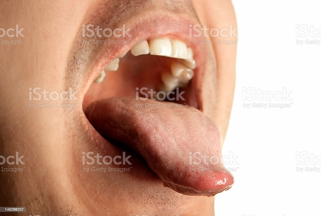 mouth wide opened showin tongue stock photo
