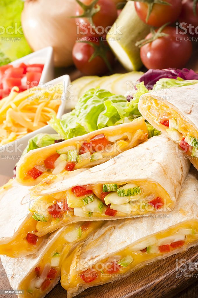 Mouthwatering quesadilla containing various vegetables stock photo
