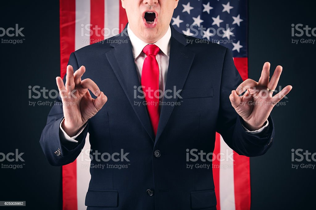 Mouthy American Politician stock photo
