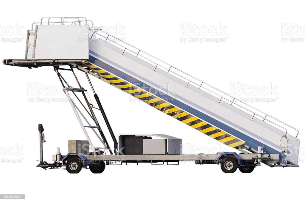 Movable assenger's boarding ramp isolated on white background. stock photo