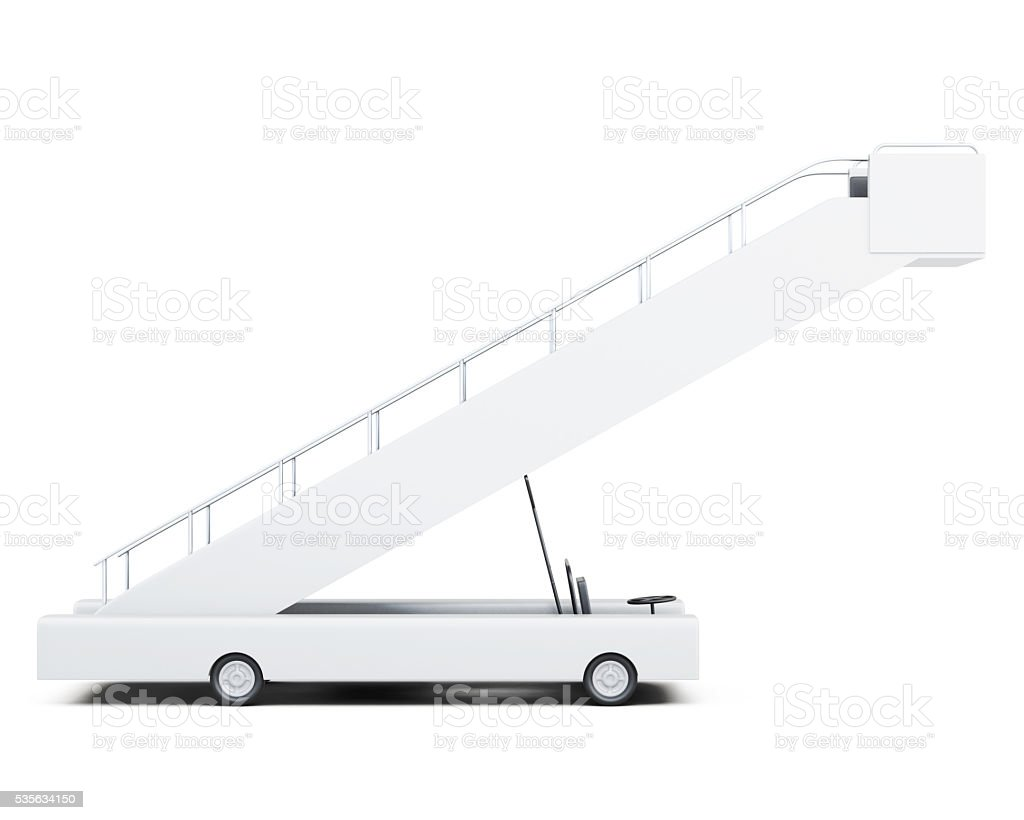 Movable ramp side view isolated on white background. 3d renderin stock photo