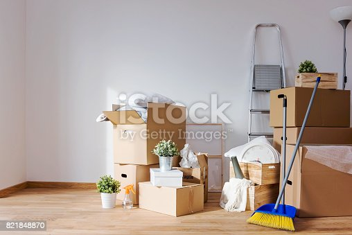 istock Move. Cardboard boxes and cleaning things for moving into a new home 821848870