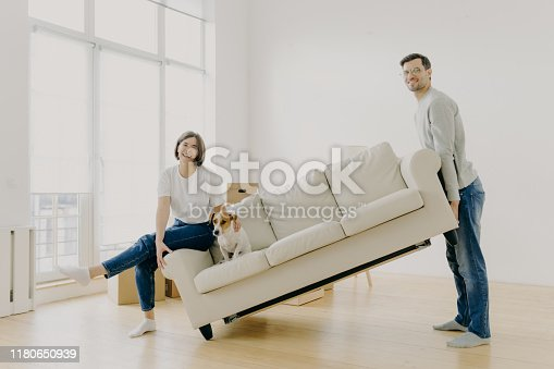 istock Move into new home. Husband and wife carry sofa, furnish living room after renovation, happy to buy apartment, lovely pet poses on couch, work together as team, place furniture in empty room 1180650939