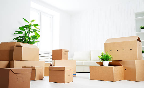 move. lots of cardboard boxes in empty new apartment - relocation stock photos and pictures