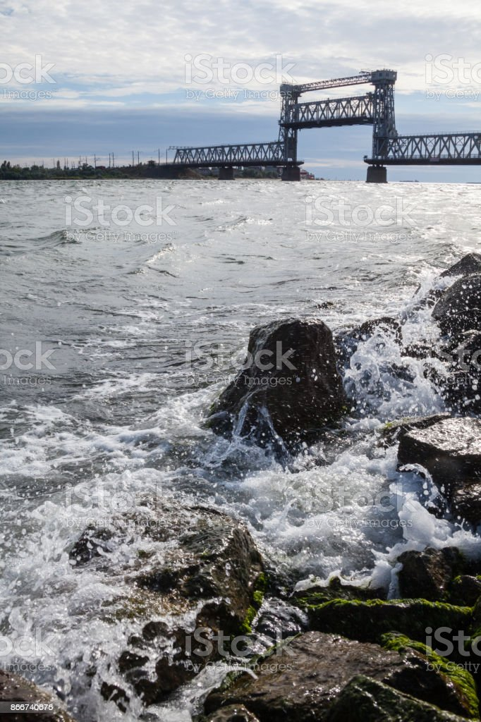 A moveable bridge across the Dniester stock photo