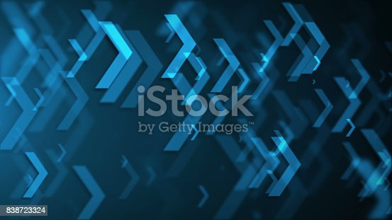 istock Movement of blue arrows. Technology background 838723324