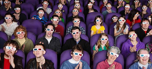 3D Movie Audience stock photo