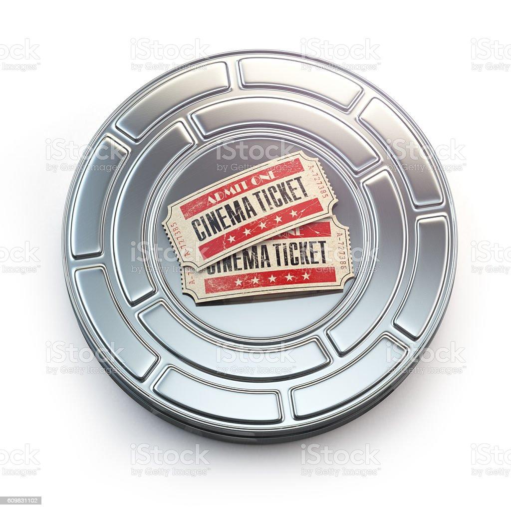 Movie, cinema or video vintage concept. Tickets on film reel stock photo