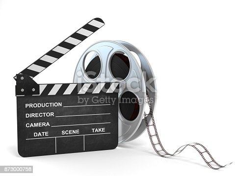 istock movie clapper and film reel 3d illustration 873000758