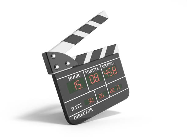 movie clapper board high quality 3d render isolated on white stock photo
