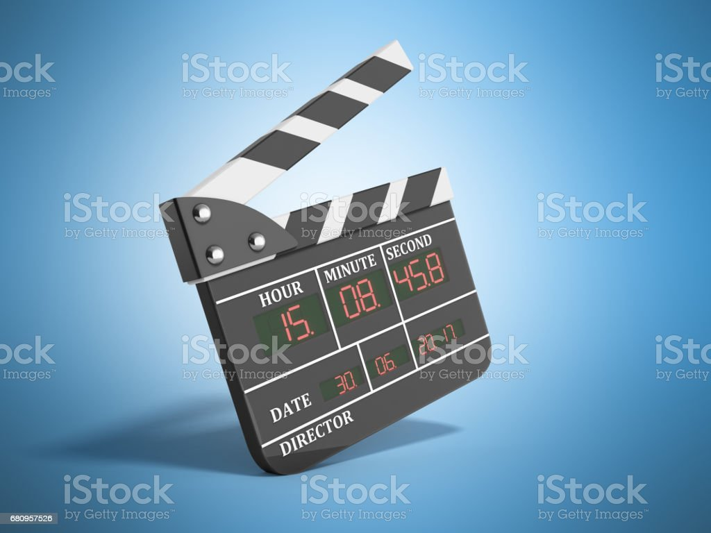 movie clapper board high quality 3d render on blue royalty-free stock photo
