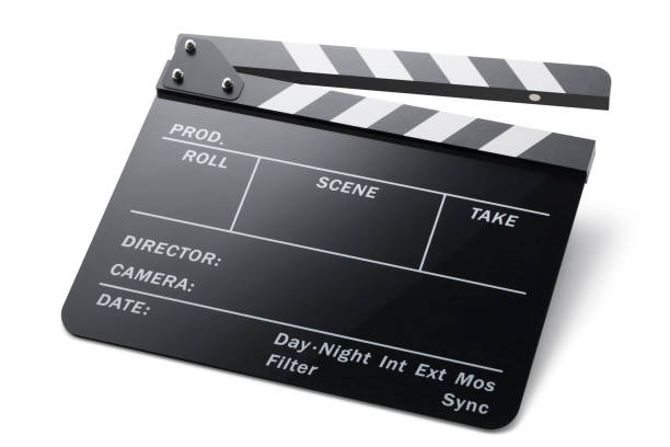 Movie clapper board on white background. Photo with clipping path. stock photo
