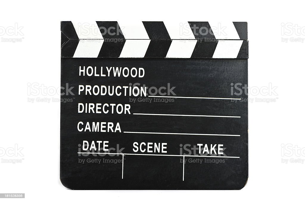 Movie clapper on a white background royalty-free stock photo