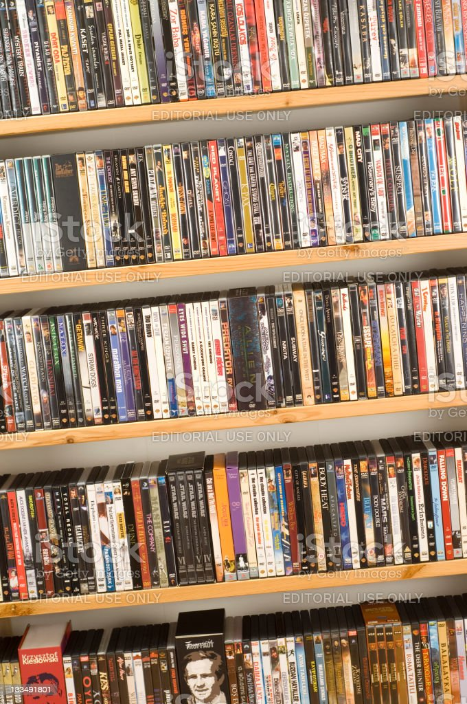 DVD movie collection stock photo