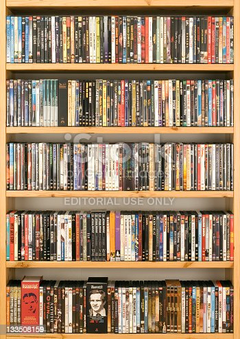 Samsun, Turkey - October 19, 2011: Second region of 300 original DVD movie collection. The original DVDs come mostly from the Turkey-Istanbul and Europe market.